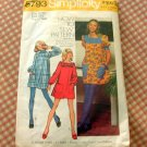 Vintage 70s Smock Style Mini Dress Simplicity 5793 Sewing Pattern