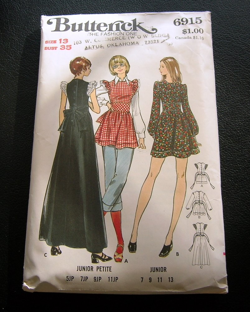 70s Ruffled Maxi Dress Vintage Sewing Pattern Butterick 6915
