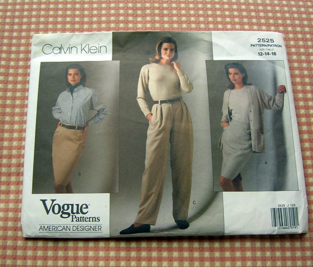 Vintage Vogue Sewing Pattern 2525 Calvin Klein Midi Skirt and Pants