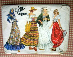 Peasant Maxi Skirt Vintage Sewing Pattern Vogue 1009