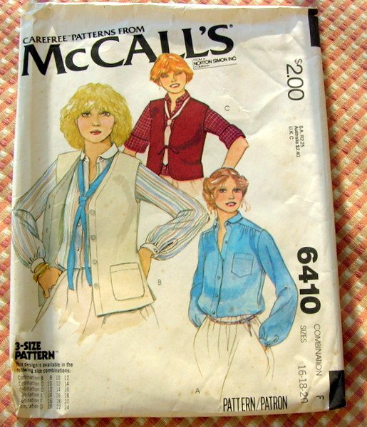 Vintage Sewing Pattern McCall's 6410 Misses' Blouse And Vests Sizes 16, 18, 20