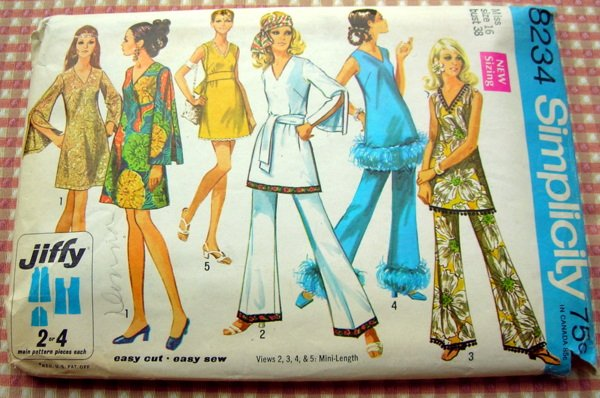 Mod 60s Mini Dress and Bell Bottom Pants Vintage Sewing Pattern Simplicity 8234