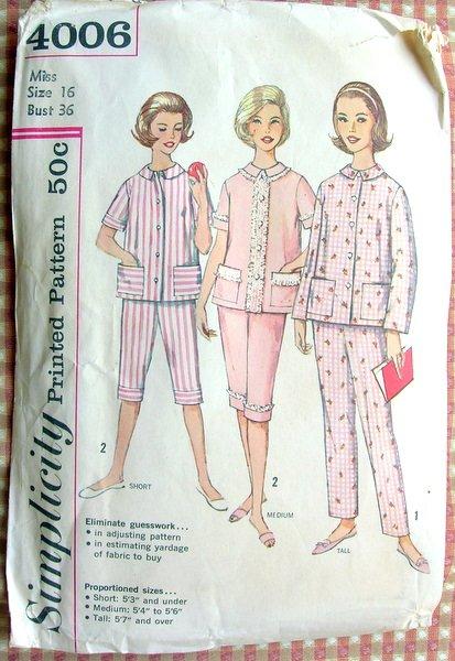 Simplicity 4006 Vintage Sewing Pattern Misses Pajamas