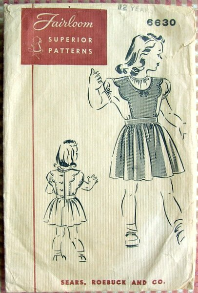 Girl's Dirndl Skirt and Blouse 40s Vintage Sears Sewing Pattern Fairloom 6630