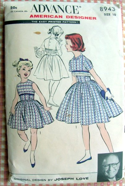 Girls Party Dress Vintage Sewing Pattern Advance 8943