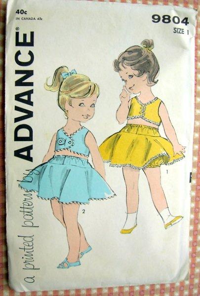 Toddler Two-Piece Sunsuit Panties Skirt, Bra Vintage Sewing Pattern Advance 9804