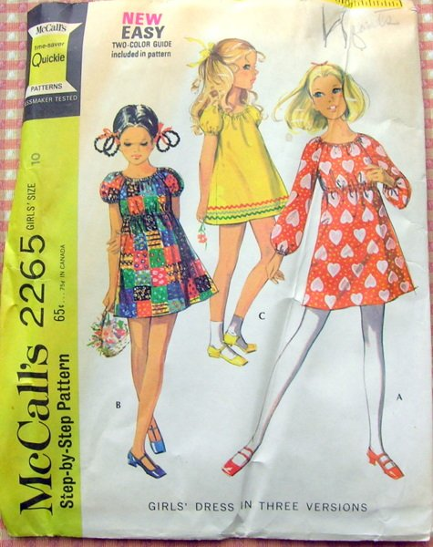 Girl's Mini Dress Vintage Sewing Pattern McCall's 2265