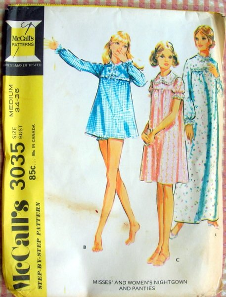 Misses Nightgown and Panties Vintage Sewing Pattern McCall's 3035