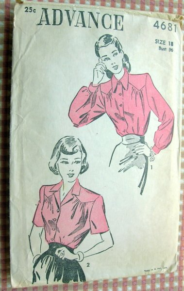 Blouse Vintage 40s Sewing Pattern Advance 4681