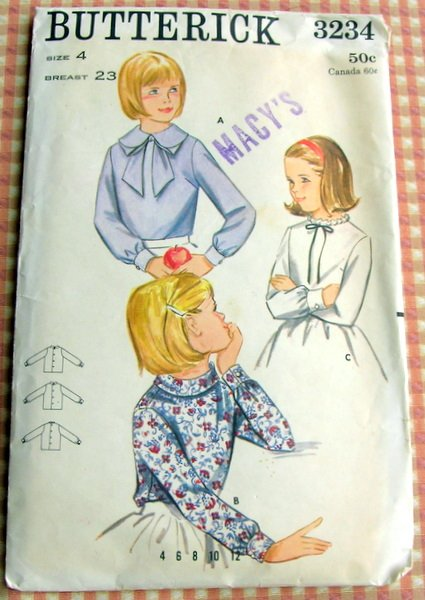 Butterick 3234 Girl's Blouse Vintage Sewing Pattern