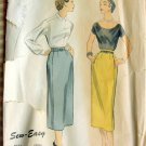 Midi Pencil Skirt Vintage 50s Sewing Pattern Advance 6678