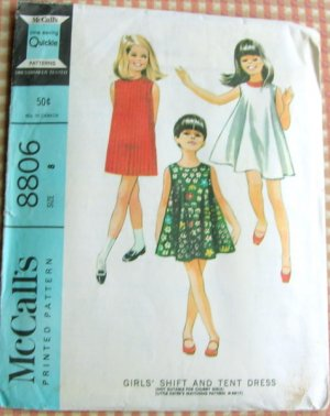 McCalls 8806 Girls�  Tent Dress Vintage Sewing Pattern