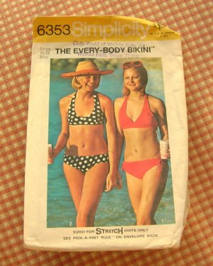 Bikini Bathing Suit Vintage Sewing Pattern Simplicity 6353