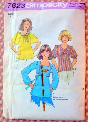 Boho Peasant Top Vintage Sewing Pattern Simplicity 7623