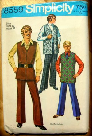 Men's Mod Pants and  Vest Vintage Sewing Pattern Simplicity 8559