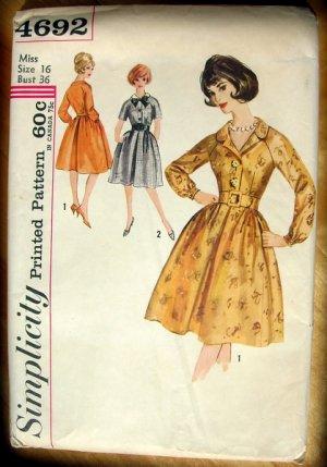 Vintage Original Sewing Pattern Misses Shirtwaist Dress Simplicity 4692