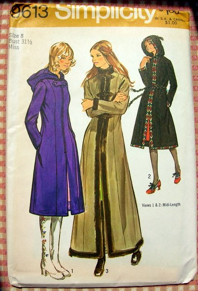 Misses Hooded Coat Vintage Sewing Pattern Simplicity 9613 Bust 31.5