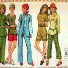 Misses Military Style Shirt Jacket, Shorts and Pants Vintage Sewing Pattern Simplicity 9871