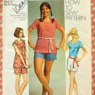Knit Top and High Waisted Shorts Vintage 70s Sewing Pattern Simplicity 9287 Bust 33.5