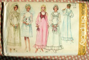 Wedding Dress and Bridesmaid Dresses Vintage Pattern Simplicity 9866