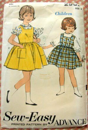 Little Girl's Jumper and Blouse Vintage Sewing Pattern Advance 2962