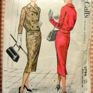 50s Misses Suit Slim Skirt Double-Breasted Jacket Vintage Sewing Pattern McCalls 3794