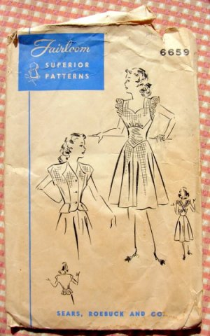 Petite Apron Sundress and Peplum Jacket 40s Vintage Sears Sewing Pattern Fairloom 6659