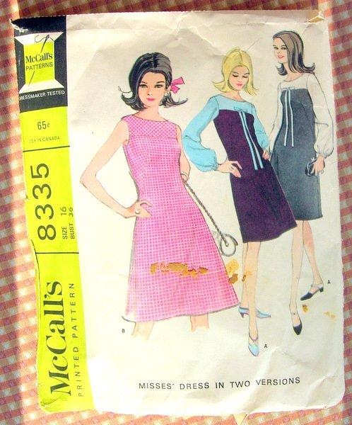60s Misses A-Line Dress Vintage Sewing Pattern McCalls 8335