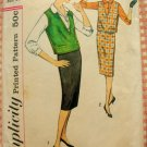 Pencil Skirt, Blouse and Jerkin 50s Vintage Sewing Pattern Simplicity 2734
