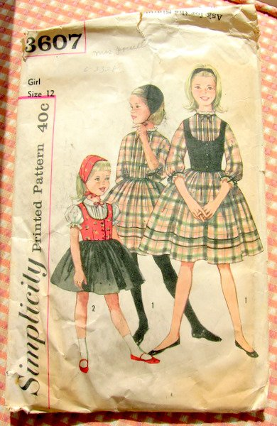 Vintage 50s Sewing Pattern Girl's Dress, Hat and Vest  Simplicity 3607