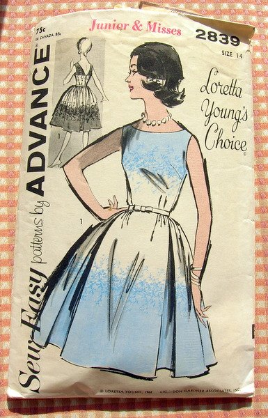 Rockabilly Dress Vintage Sewing Pattern Advance 2839