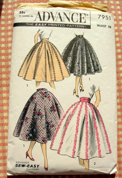 Misses Circle Skirt and Cummerbund Vintage Sewing Pattern Advance 7951