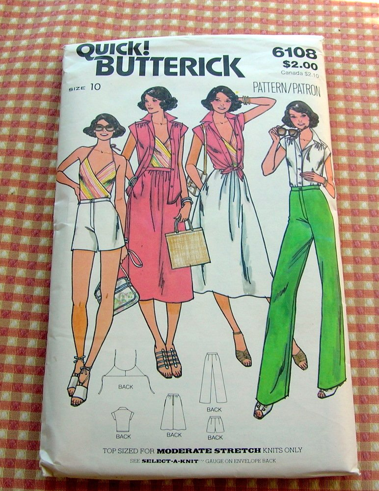 Misses Halter Top, Skirt,  High Waisted Pants Vintage Sewing Pattern Butterick 6108