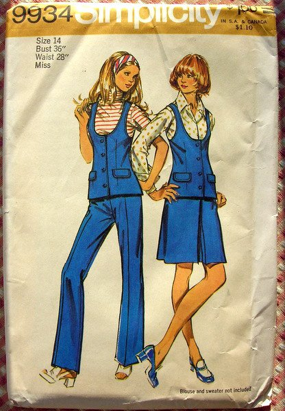 Pants, Skirt, Vest  70s Vintage Pattern Simplicity 9934 Bust 36