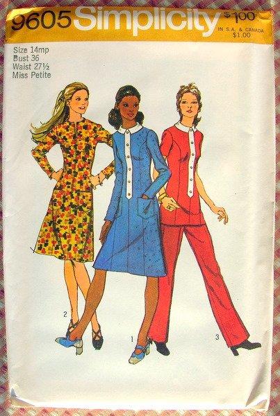 Princess Seaming Midi Dress 70s  Vintage Pattern Simplicity 9605