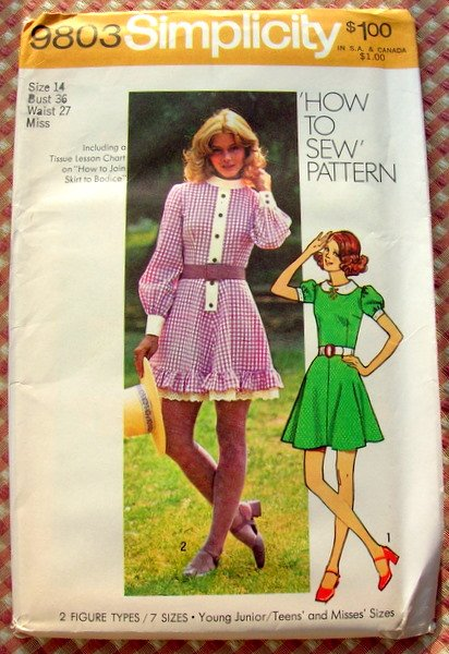 Misses Ruffled Country Dress Vintage Pattern Simplicity 9803