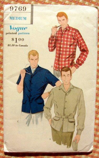 50s Safari Shirt Jacket Vintage Sewing Pattern Vogue 9769