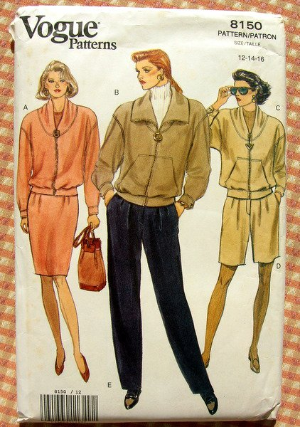 Jacket, Skirt, High Waisted Pants and Shorts Vintage Vogue Sewing Pattern 8150