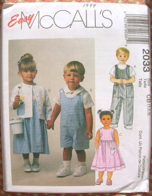 Toddler's Overalls, Romper, Dress, Jacket and Shirt Vintage Sewing Pattern McCall's 2033