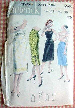 Slip Skirt Vintage Sewing Pattern Butterick 7764