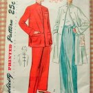 Mandarin Style Pajamas and Lounging Coat Vintage 50s Sewing Pattern Simplicity 3354