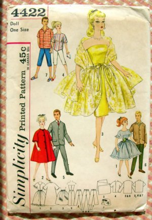 Barbie & Ken Doll Clothes Vintage 60s Sewing Pattern Simplicity 4422