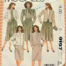 Misses Jacket, Blouse, Skirts and Scarf  Vintage Sewing Pattern McCall's 9197