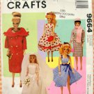 Vintage Collection Barbie Doll Clothes Sewing Pattern McCall&#39;s 9664