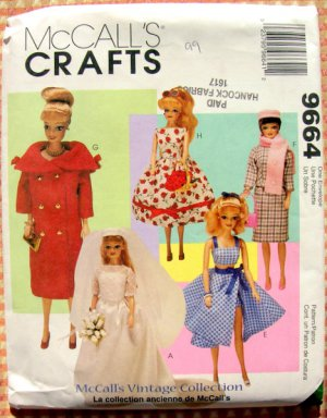 Vintage Collection Barbie Doll Clothes Sewing Pattern McCall&#039;s 9664