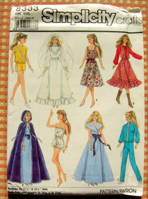 """11 1/2""""  and 12 1/2"""" Fashion Doll Clothes Sewing Pattern Simplicity 8333"""