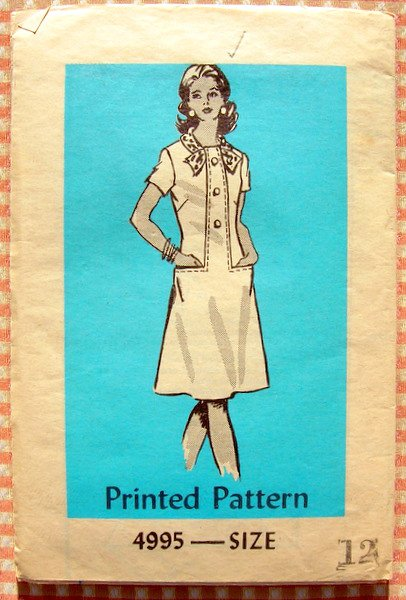 Faux Buttonfront Dress Vintage 70s Mail Order Sewing Pattern 4995