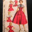 Misses Dress with Capelet Collar Vintage 50s Pattern Simplicity 1972