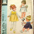 Toddler's Dress and Blouse McCall's 9683 Vintage Sewing Pattern