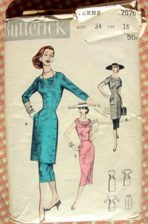 Tunic, Skirt and Sheath Dress Vintage 50s Sewing Pattern Butterick 7576